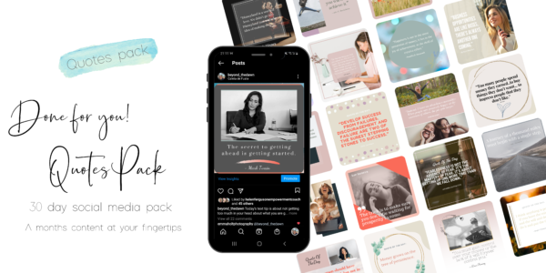 smart phone i phone showing instagram and facebook graphics with 30 different business quotes on social media images