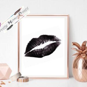 black lips kiss mark on white wall print